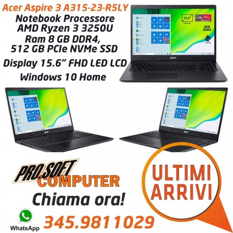 "Acer Notebook con CPU AMD Ryzen 3 3250U, Ram 8 GB DDR4, 512 GB PCIe NVMe SSD, 15.6"" FHD LED LCD, AMD Radeon, Win 10 Home"