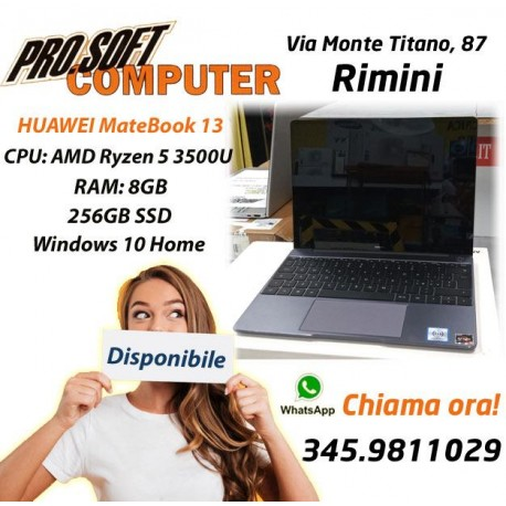HUAWEI MateBook 13 FullView, Display 2K, 3 Pollici, AMD Ryzen 5 3500U, 8GB RAM, 256GB SSD, Windows 10 Home