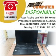 "Acer Aspire 3 Notebook Intel Core i5-1035G1, Ram 8 GB DDR4, 512 GB PCIe NVMe SSD, 15.6"" FHD LED LCD, Win 10 Home"
