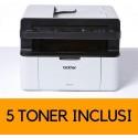 Stampante Multifunzione Laser, Bundle All in Box con 5 Toner Originali Inclusi, Wi-Fi, Bianco e Nero